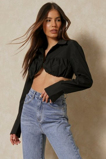 Black Discodaydream Ruched Bust Cropped Shirt