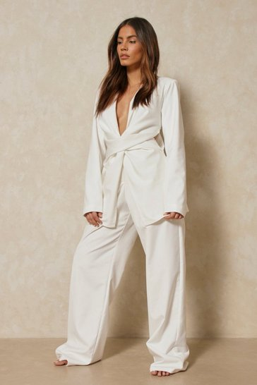 Cream Discodaydream Tailored Twist Cut Out Blazer