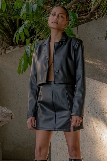 Black Discodaydream Leather Look Cropped Blazer