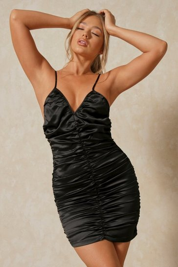 Black Discodaydream Satin Ruched Strappy Mini Dress