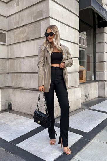 Black Discodaydream Tailored Zip Ankle Pants