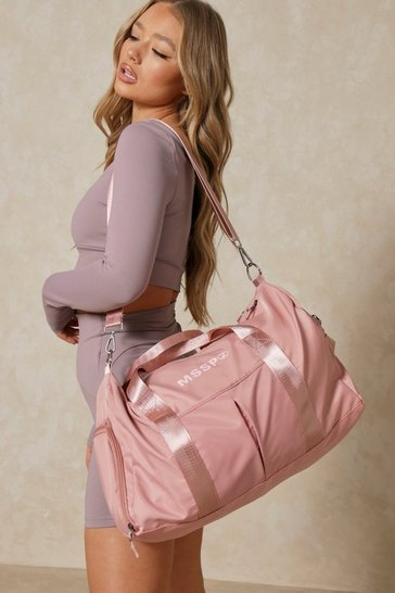 Pink Mssp Oversized Fabric Gym Bag