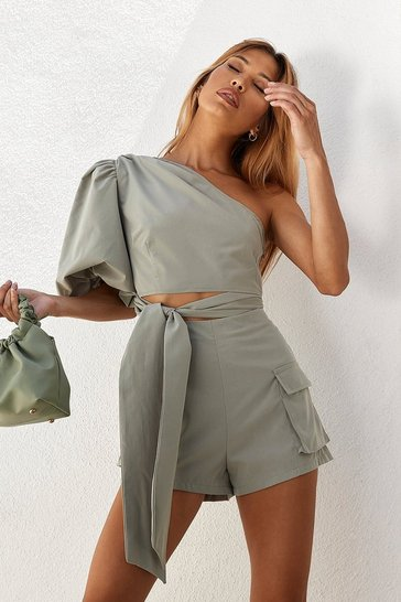Sage Pocket Detail High Waisted Shorts