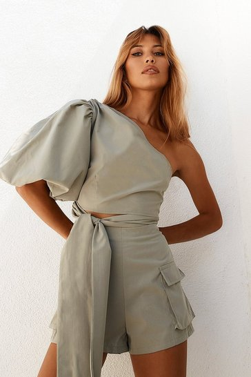 Sage One Shoulder Extreme Puff Sleeve Top