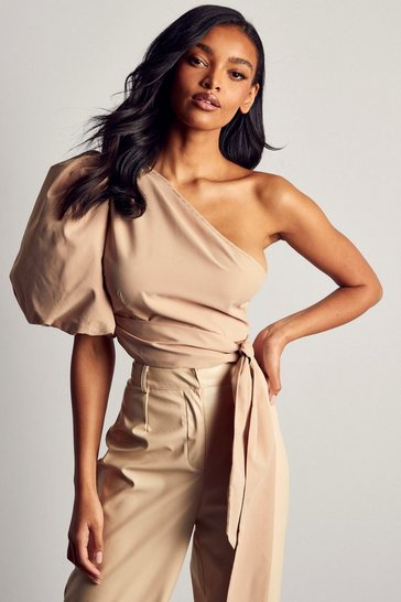 Stone One Shoulder Extreme Puff Sleeve Top