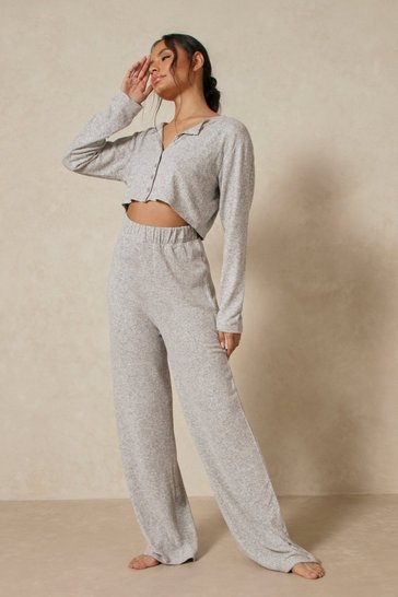 Grey marl Brushed Knit Button Through Trouser Pj Set