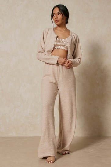 Stone Brushed Knit Button Through Trouser Pj Set