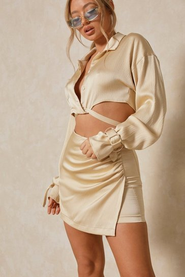 Stone Premium Embossed Satin Draped Skirt