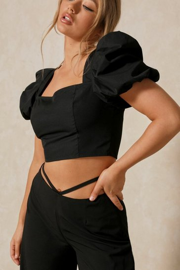 Black Square Neck Puff Sleeve Crop Top
