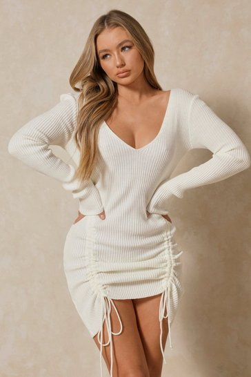 Cream Ribbed Knit Ruched Side Detail Dress