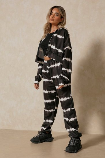 Black Tie Dye Zip Up Jogger Two-Piece