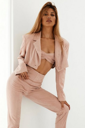 Blush Faux Suede Shoulder Pad Cropped Blazer