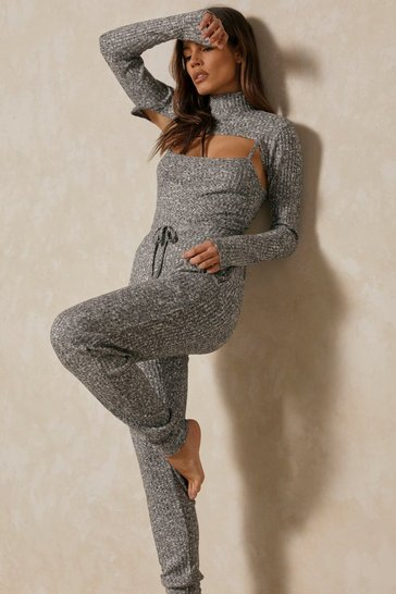 Grey marl 3 Piece Rib Marl Bodysuit Jogger Co-ord