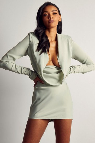 Sage Premium Satin Cowl Neck Shoulder Pad Dress