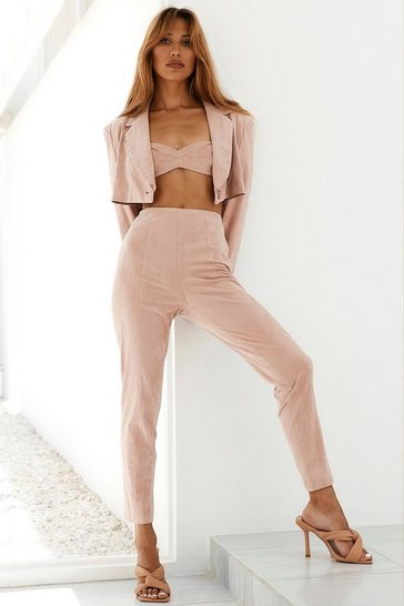 Blush Faux Suede High Waisted Skinny Trouser