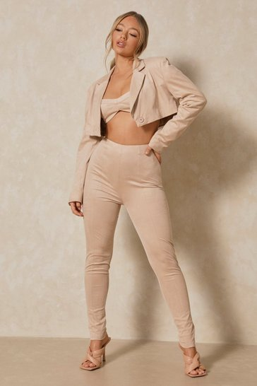 Stone Faux Suede High Waisted Skinny Trouser