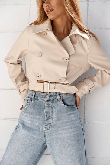 Stone Leather Look Cut Out Belted Jacket