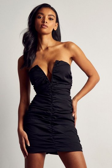 Black Premium V Bar Ruched Mini Dress