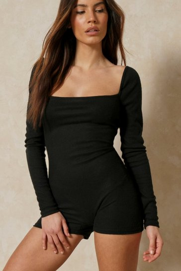 Black Discodaydream Brushed Rib Square Neck Unitard