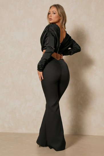 Black Premium Ruched Bum Flare Pants