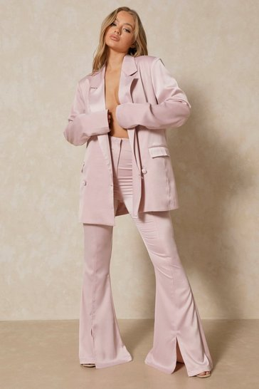 Blush Premium Satin High Waisted Flare Trouser