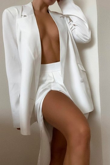 Ivory Premium Satin Double Breasted Blazer