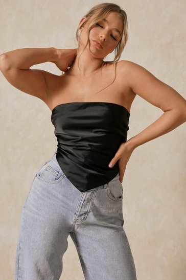Black Premium Satin Tie Back Tube Top