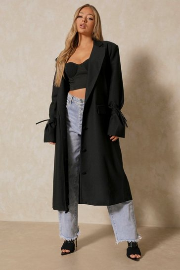 Black Premium Woven Tie Sleeve Duster Jacket