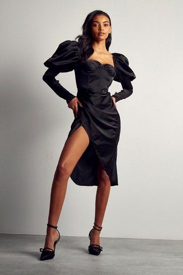 Black Premium Satin Puff Sleeve Drape Midi Dress