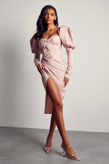 Dusky pink Premium Satin Puff Sleeve Drape Midi Dress