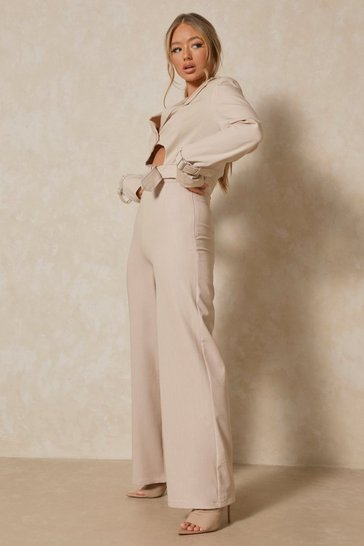 Light stone Luxe Twill Wrap Waist  Wide Leg Trouser