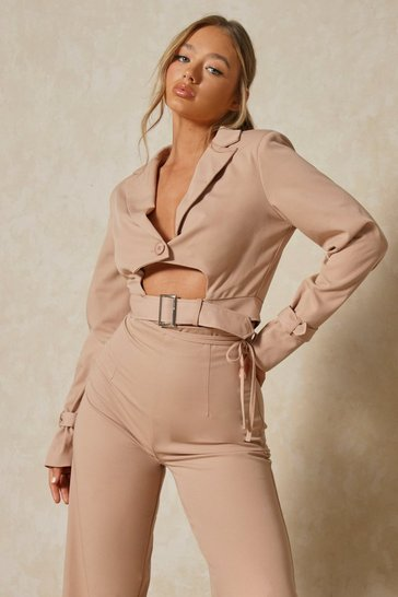 Blush Luxe Twill Cropped Buckle Detail Blazer