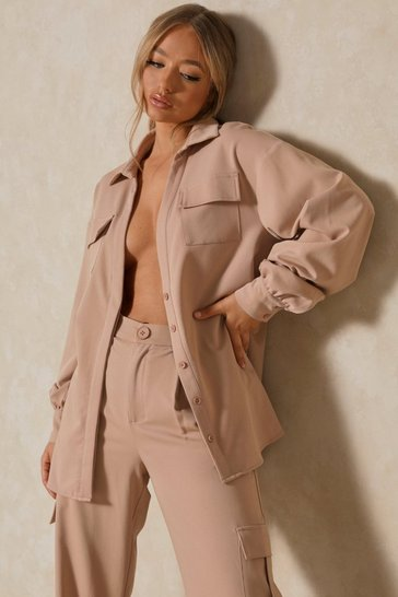 Blush Luxe Twill Utility Pocket Oversized Shirt