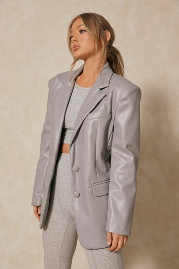 Grey Faux Leather Oversized Blazer