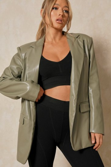 Sage Faux Leather Oversized Blazer