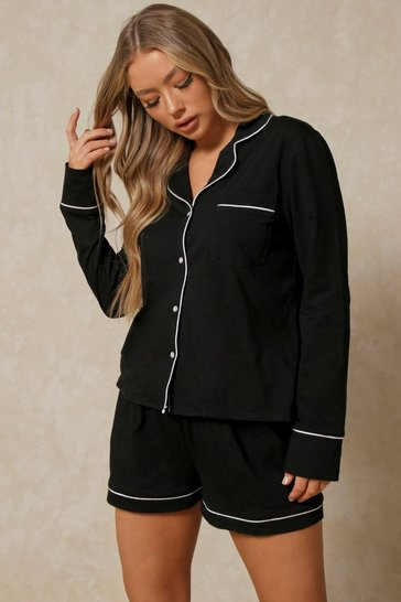 Black Jersey Binding Long Sleeve Shorts Pj Set