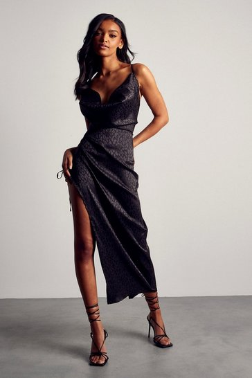 Black Premium Satin Jacquard Cowl Ruched Midi Dress