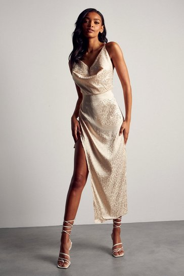 Nude Premium Satin Jacquard Cowl Ruched Midi Dress