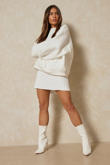 Cream Knitted Pleated Tennis Skirt