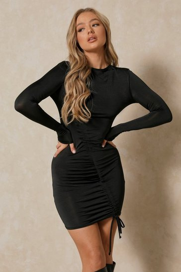 Black Slinky Asymmetric Ruched Mini Dress