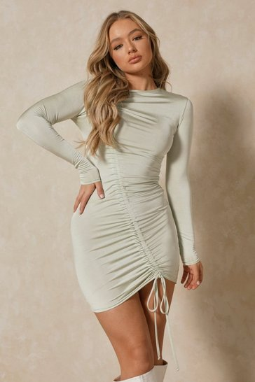 Sage Slinky Asymmetric Ruched Mini Dress