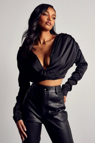 Black Premium Satin V Bar Draped Top
