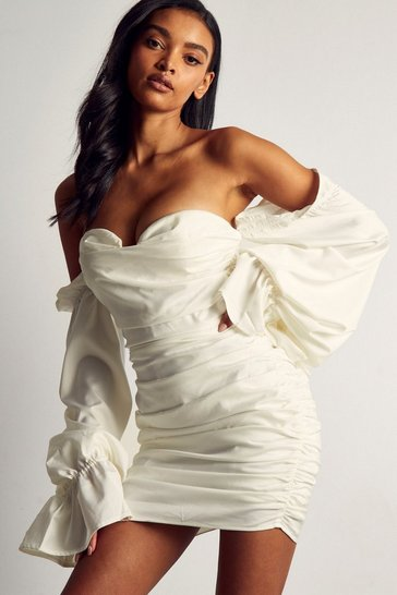 Ivory Premium Satin Ruched Tie Sleeve Bardot Dress