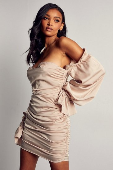 Taupe Premium Satin Ruched Tie Sleeve Bardot Dress