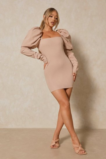 Blush Luxe Twill Extreme Puff Shoulder Mini Dress
