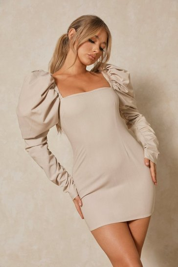 Stone Luxe Twill Extreme Puff Shoulder Mini Dress