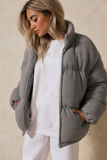 Grey Soft Ribbed Oversized Puffer Jacket
