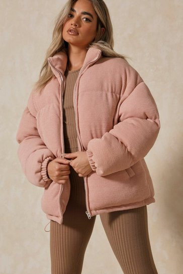 Pink Soft Ribbed Oversized Puffer Jacket