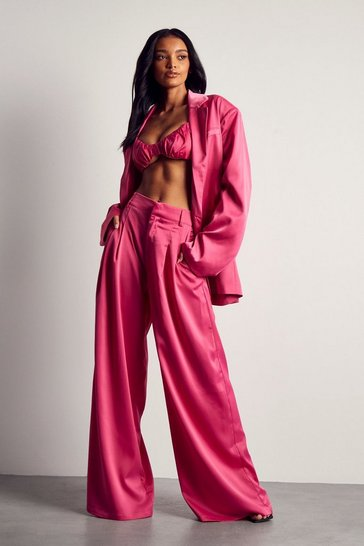 Fuchsia Tailored Premium Satin Oversized Blazer
