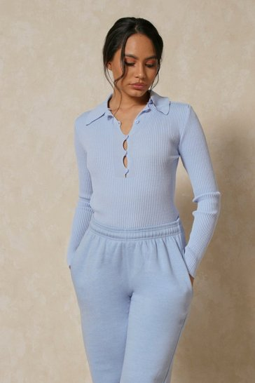 Blue Ribbed Knit Collared Long Sleeve Top